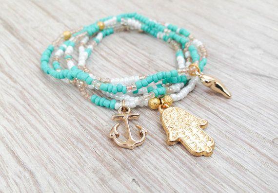 Hamsa bracelet bracelet set beaded bracelet by Olive1990 on Etsy, €8.80