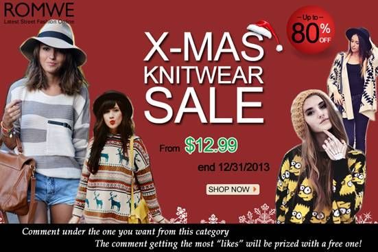 """Christmas Knitwear Sale! Up to 80% off!  Starting from $12.99 and up!  Until the end of the month only! * Comment under your favorite product and try to get as more likes as you can! The comment which gets the most """"likes"""" will be prized with a free one as gift!  Already started! Don't miss it!  SHOP and JOIN THE GIVEAWAY > http://www.romwe.com/Christmas-Knitwear-Sale-c-378.html?HOTFUNSTUFFS"""