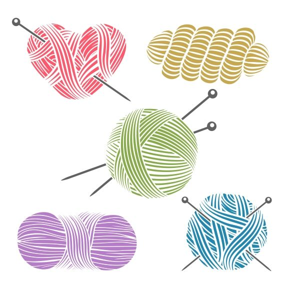 Hand drawn yarn for knitting by Microvector on Creative Market