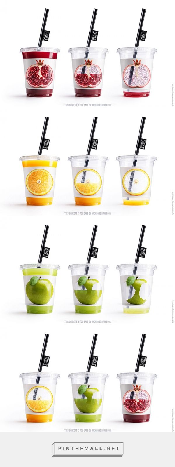 Squeeze & Fresh juices by Backbone Branding. Source: Daily Package Design Inspiration.