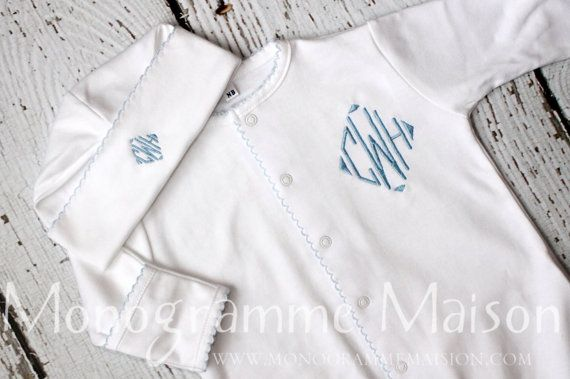 Coming Home Outfit-Baby Boy Converter-Baby Gift-Baby Shower Gift-Baby Boy Outfit-Monogrammed Layette Gift Set-Newborn Pictures-Pima Cotton on Etsy, $49.95