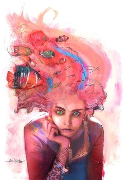 """[Delirium of the Endless: When she was young, she was """"Delight"""", but then she grew up. Delirium was always my favorite of the endless - Painting by Javier Pacheco]"""
