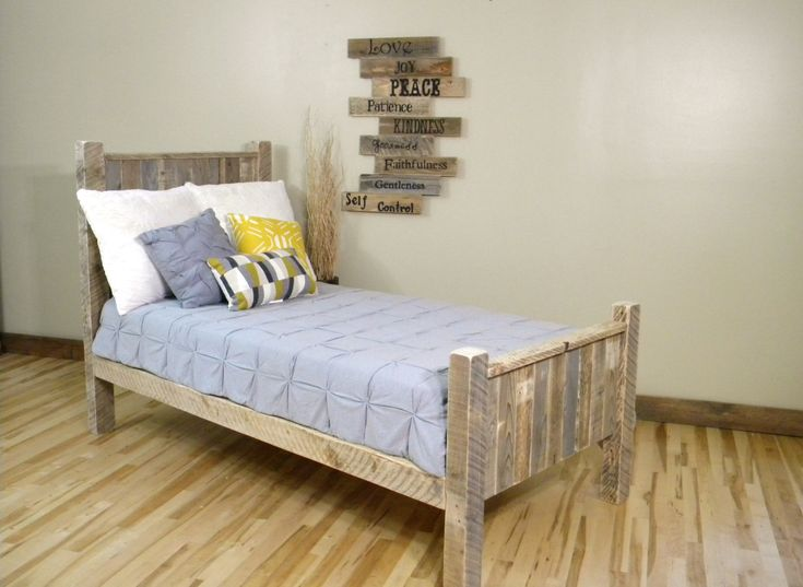 bedroom classic reclaimed wood twin size bed frame with some colorful pillows and blue bed