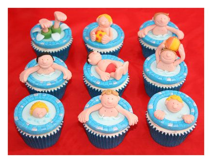 Swimming party cupcakes  Cake by Anna Drew (Anna's Cakes)