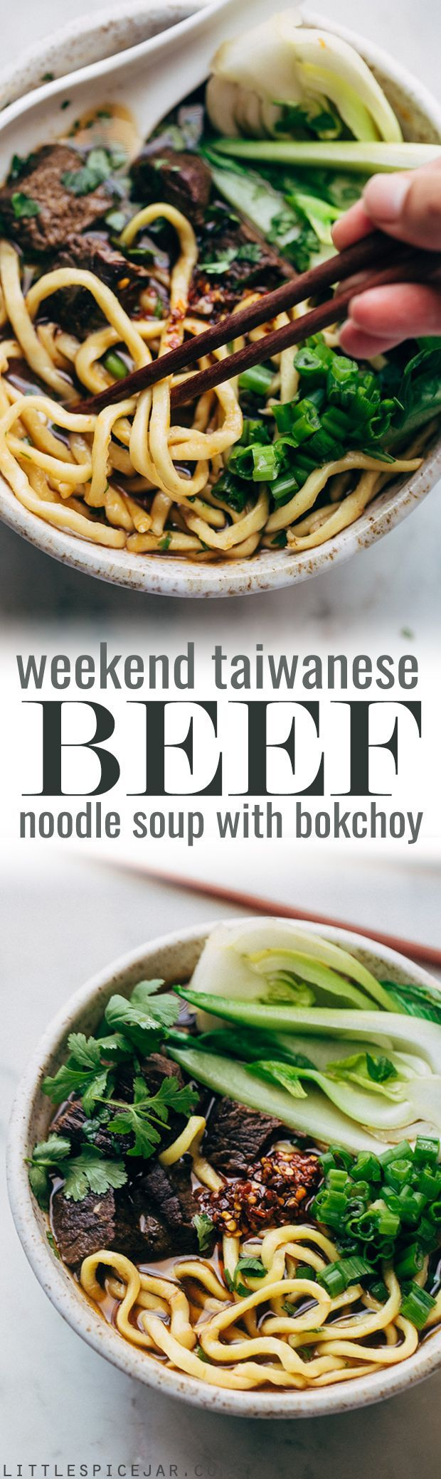 Comfy Cozy Taiwanese Beef Noodle Soup - thick and chewy noodles in a homemade. slow simmered broth with tons of tender beef and fresh greens! #beefnoodlesoup #beefsoup #taiwanesebeefnoodlesoup #asiannoodlesoup | http://Littlespicejar.com