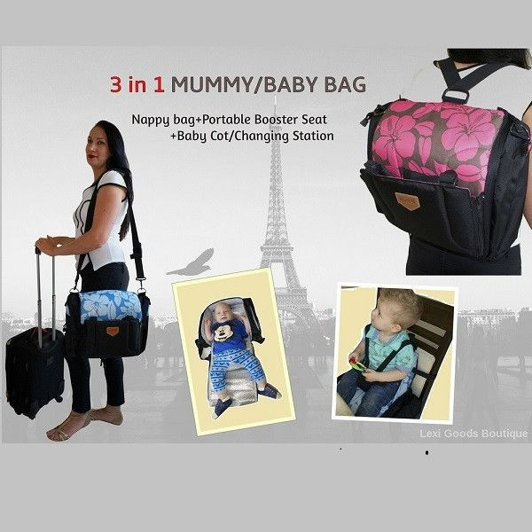 The most multi-functional Backpack Diaper bag:Mummy and Baby Nappy Travel Bag 3 in 1  Introductory price-$99.95 for a limited time only! Great gift for Christmas. Buy now:www.lexigoodsboutique.com.au