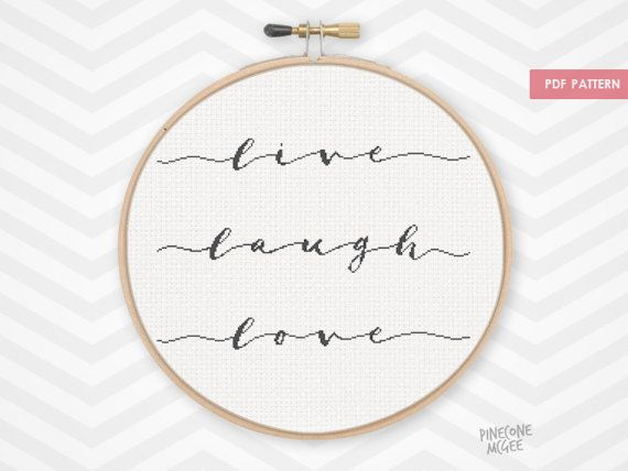 LIVE LAUGH LOVE counted cross stitch pattern modern house warming word quote gift nursery decor xstitch easy beginner needlepoint diy pdf by PineconeMcGee