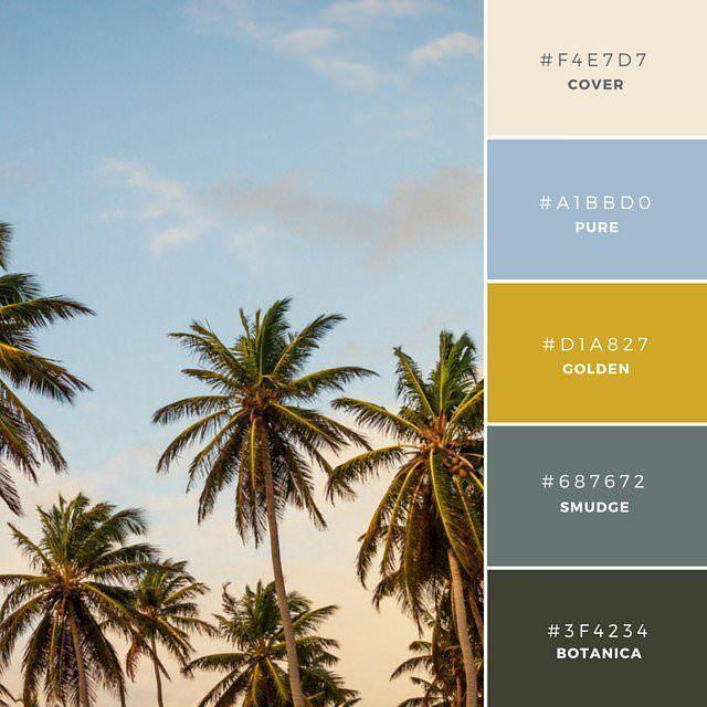 11. Green and Gold  自然にインスパイアされた配色で、金色を加えることで、よりコントラストを強調し、文字テキストや背景デザインに、よりインパクトを与えます。