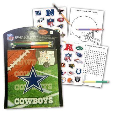 Dallas Cowboys Children Fun Color & Carry Activity Pad Set by NFL. $7.95. The activity pad contains several games including: word search, crossword, dot-to-dot, word scramble, football maze, counting games, maze, memory game, and even find the hidden images. The pad also contains 2 sheets of stickers with all the NFL teams. An answer sheet is also provided in the back page for help.  The 4 double sided coloring pencils are both useful and stylish and makes the pad even...