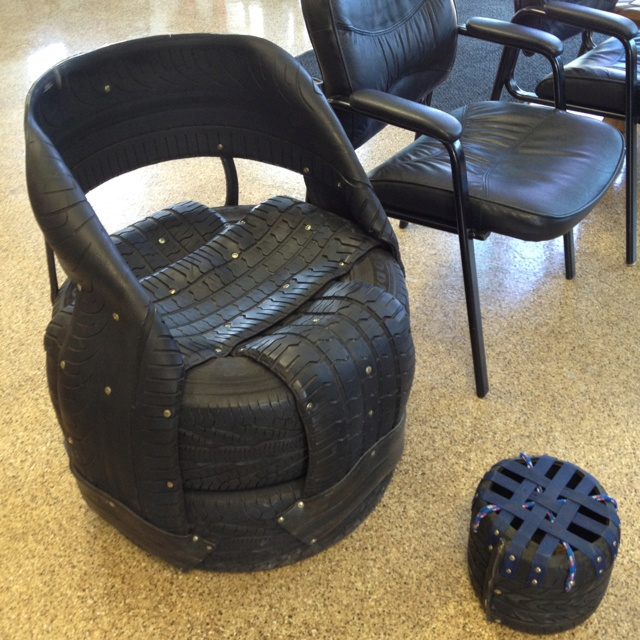 chair made of tires at the tire shop furniture