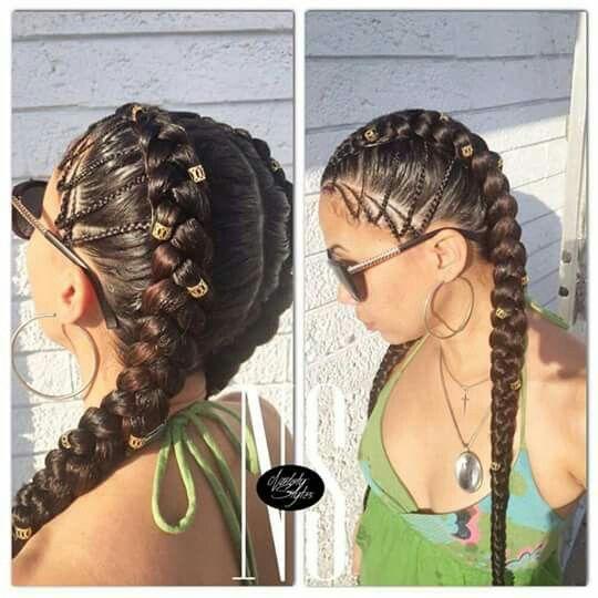 Two corn row braid