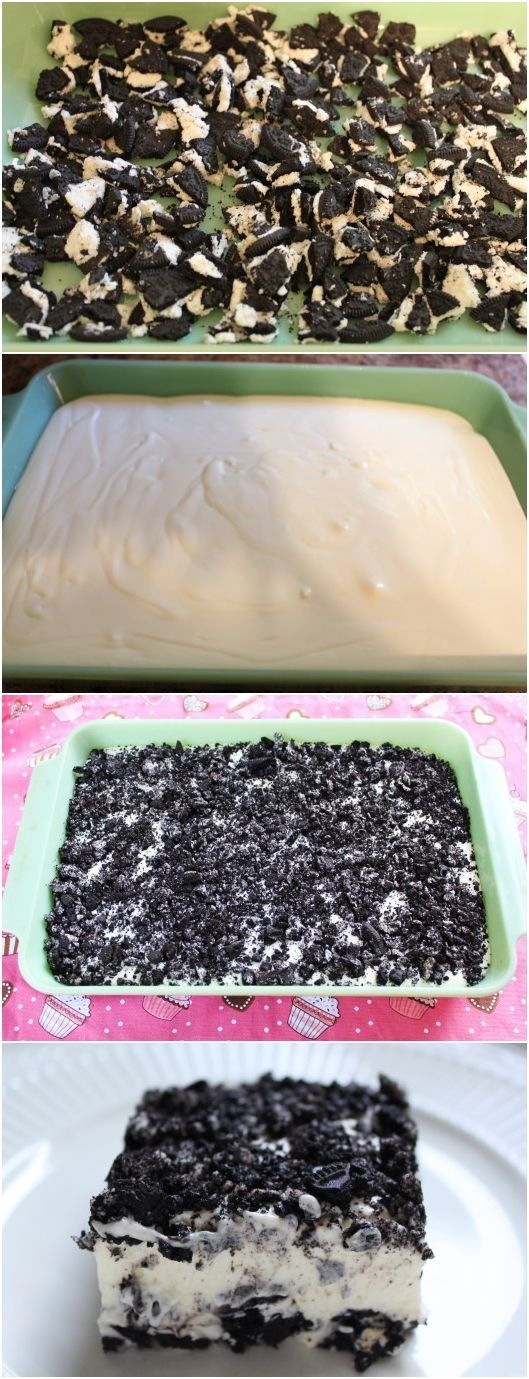 PERFECT OREO DESSERT Need: 1 package Oreos; stick butter; One 8 oz pkg cream cheese, softened; 1 small pkg vanilla instant pudding; One 8 oz container of Cool Whip; 3 c. milk; 1 c. sugar.