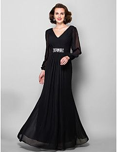 A-line Plus Sizes / Petite Mother of the Bride Dress - Black Floor-length Long Sleeve Chiffon