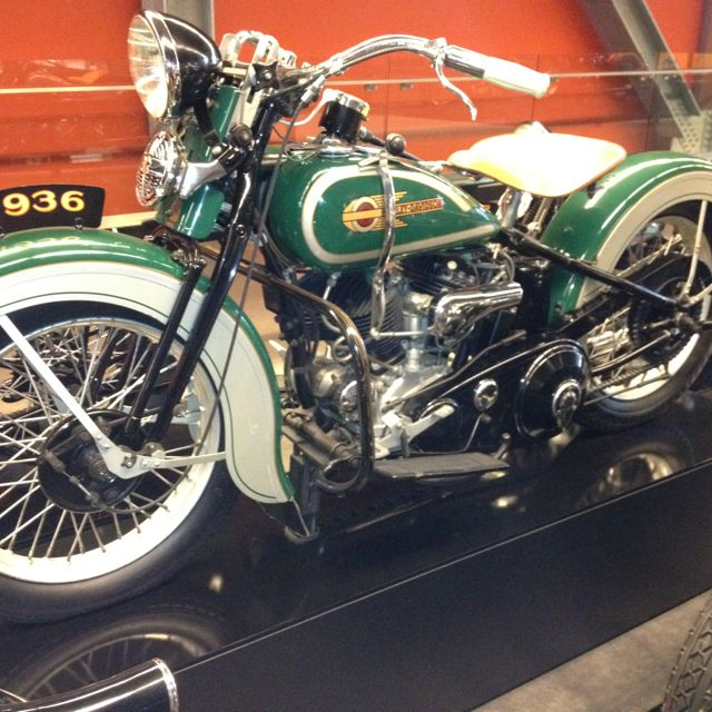 1936 Harley Davidson Motorcycle at the HD Museum in Milwaukee Wisconsin