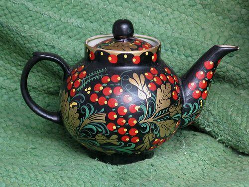Russian folk art teapot