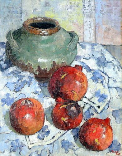 Theys, Conrad | Granate en keramiek pot | Oil on Canvas | Code : 7524 | Size : 450 x 350mm | Sold.