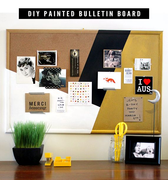 DIY Tutorial // Painted Bulletin Board