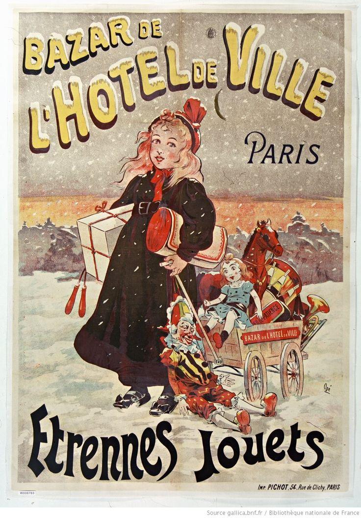 Bazar de l'Hôtel de ville, Paris étrennes, jouets : [affiche] / [Eugène Oge]