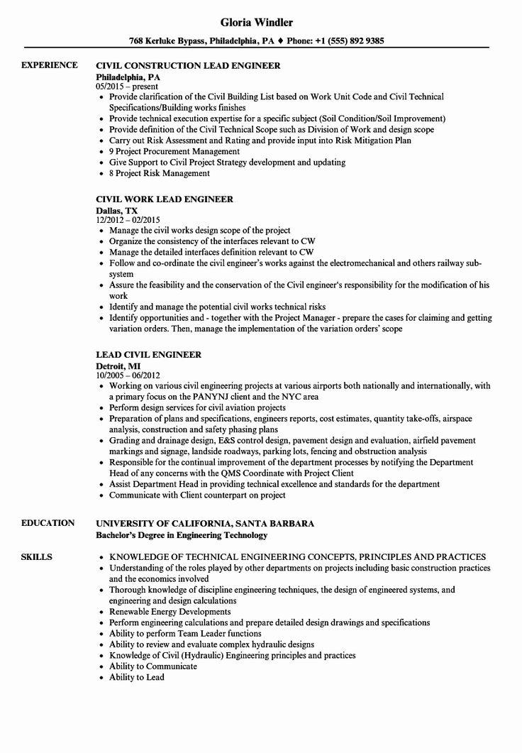 civil engineer internship resume awesome lead civil