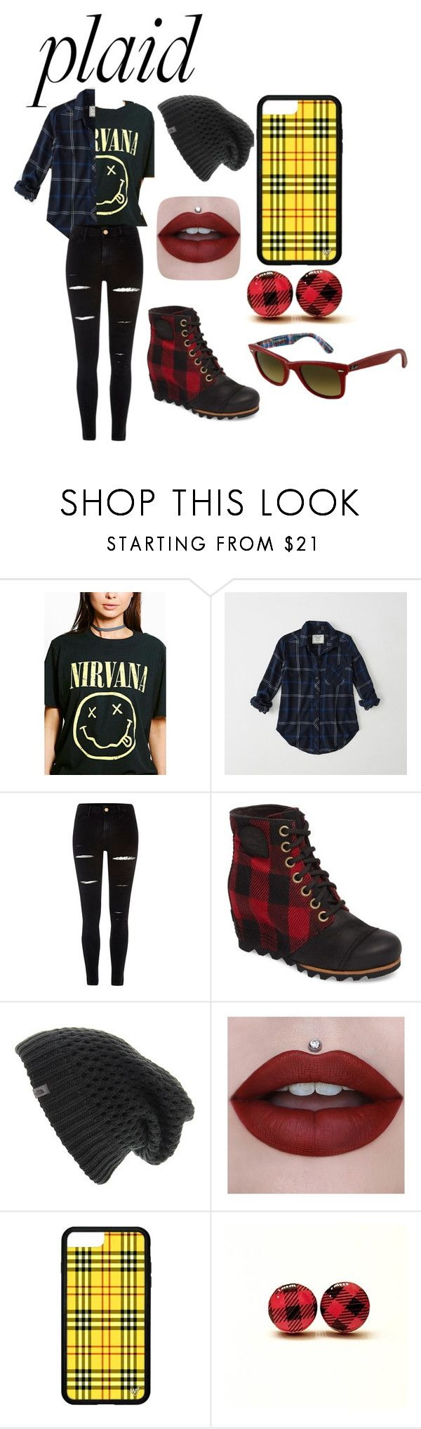 """Plaid nirvana outfit"" by foohead ❤ liked on Polyvore featuring Boohoo, Abercrombie & Fitch, River Island, SOREL, The North Face and Ray-Ban"