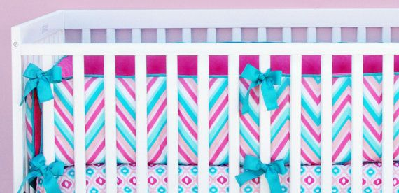 Lila Chevron Girl Designer Pink & by CadenLaneBabyBedding on Etsy, $220.00
