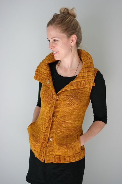 Could I do a vest? Hmmmm..... would be nice to skip knitting the sleeves! Mielie Vest by the yarniad, via Flickr