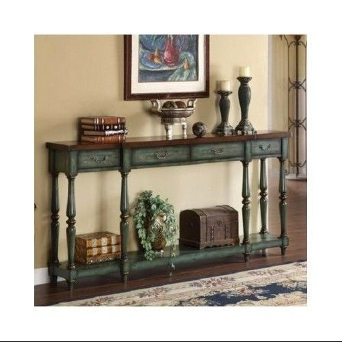 Vintage-Hallway-Console-Table-Distressed-Green-Entryway-Display-Table-Furniture