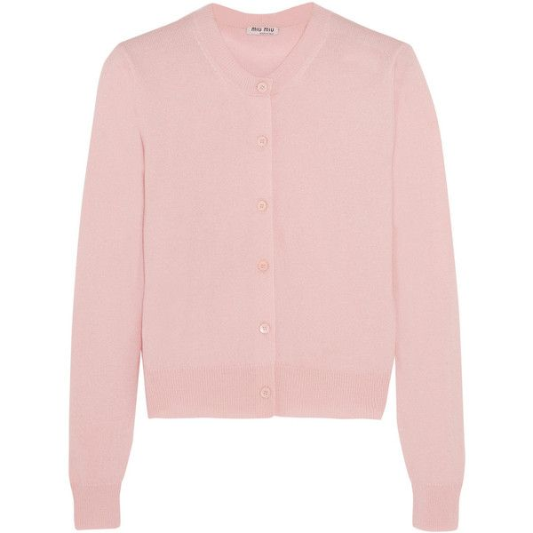 Miu Miu Cashmere cardigan (21.380 CZK) ❤ liked on Polyvore featuring tops, cardigans, pink, cashmere cardigan, pink top, pale pink top, breton stripe top and miu miu