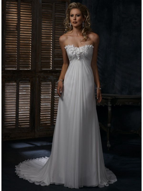 Strapless Simple Chiffon Wedding Dress of 2011 MBD7554