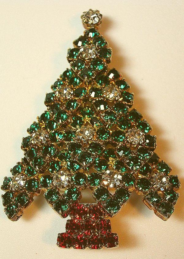 Eisenberg Ice Rhinestone Christmas Tree Brooch/Pin