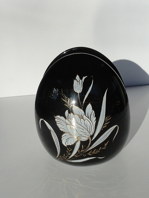 Black Asian Napkin Holder Egg Shaped by SucresDaintyDish on Etsy, $12.99