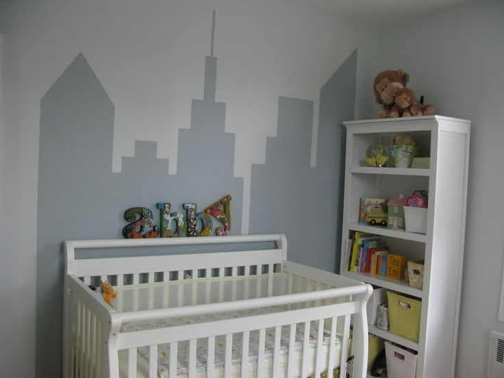 Skyline Mural in a Nursery - #nursery #DIY #wallart