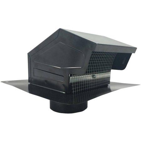 Builders Best 012635 Black Metal Roof Vent Cap, 4 inch Collar