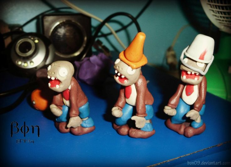 Plants vs Zombies Clay Figures by ~Bon09 on deviantART
