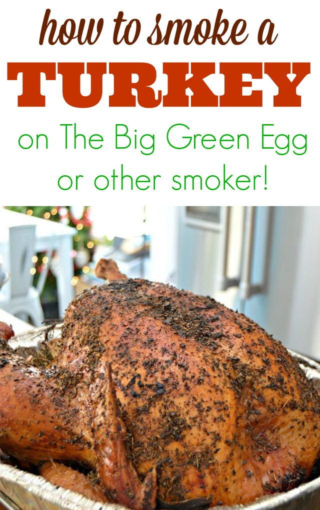 How To Cook a Smoked Turkey On The Big Green Egg Or Other Smoker - the juiciest, most flavorful turkey you will ever eat. Perfect for Thanksgiving or Christmas dinner. via @Mom4Real