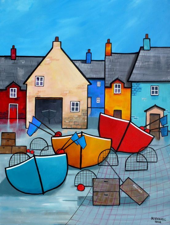 ARTFINDER: Pollock Boxes by Paul Bursnall - An original painting of a fishing quayside scene in a naïve style with bright buildings and boats etc. Painted on box canvas including around the sides. Varn...