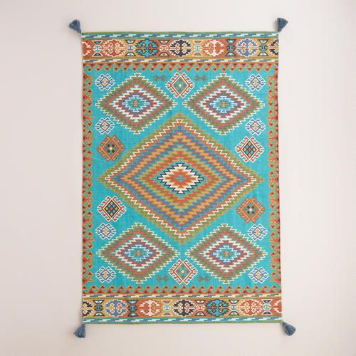 Cost Plus World Market Fall 2016 Collection: Blue Odina Kilim Flatweave Reversible Indoor-Outdoor Rug