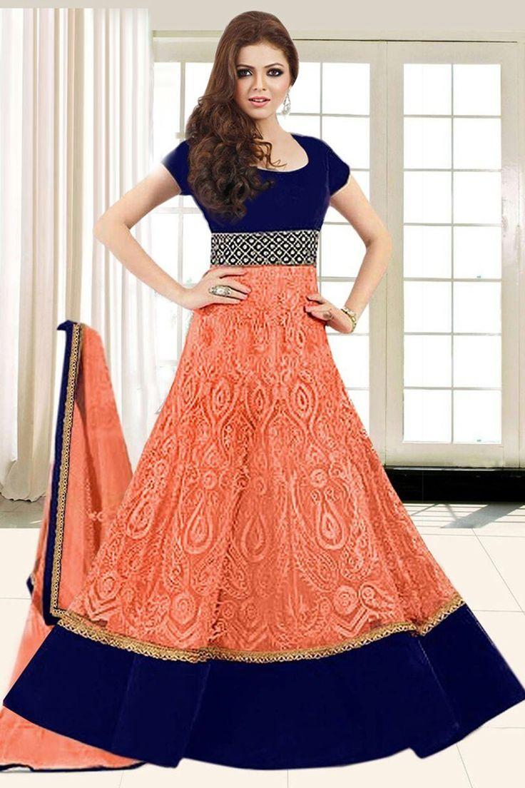Drashti Dhami Georgette Machine Work Orange Semi Stitched Long Anarkali Suit - 23018 In Stock: Rs 1,230