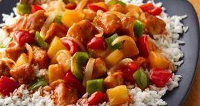 Γλυκόξινο κοτόπουλο με λαχανικά και ανανά