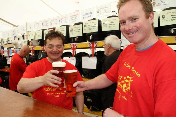 Members of staff from Otter Brewery with Biopac's 'I am not a plastic cup' tumblers at the Devon County Show