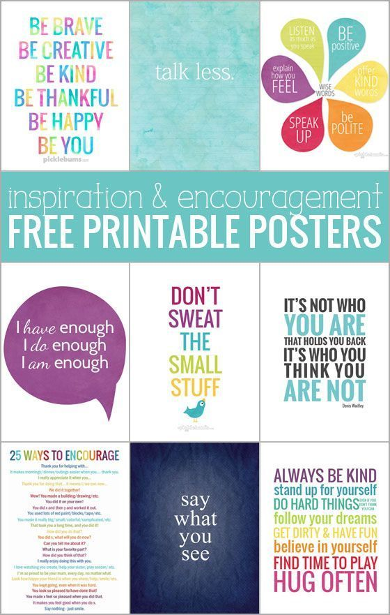 Ten free printable posters - for inspiration and encouragement!                                                                                                                                                     More