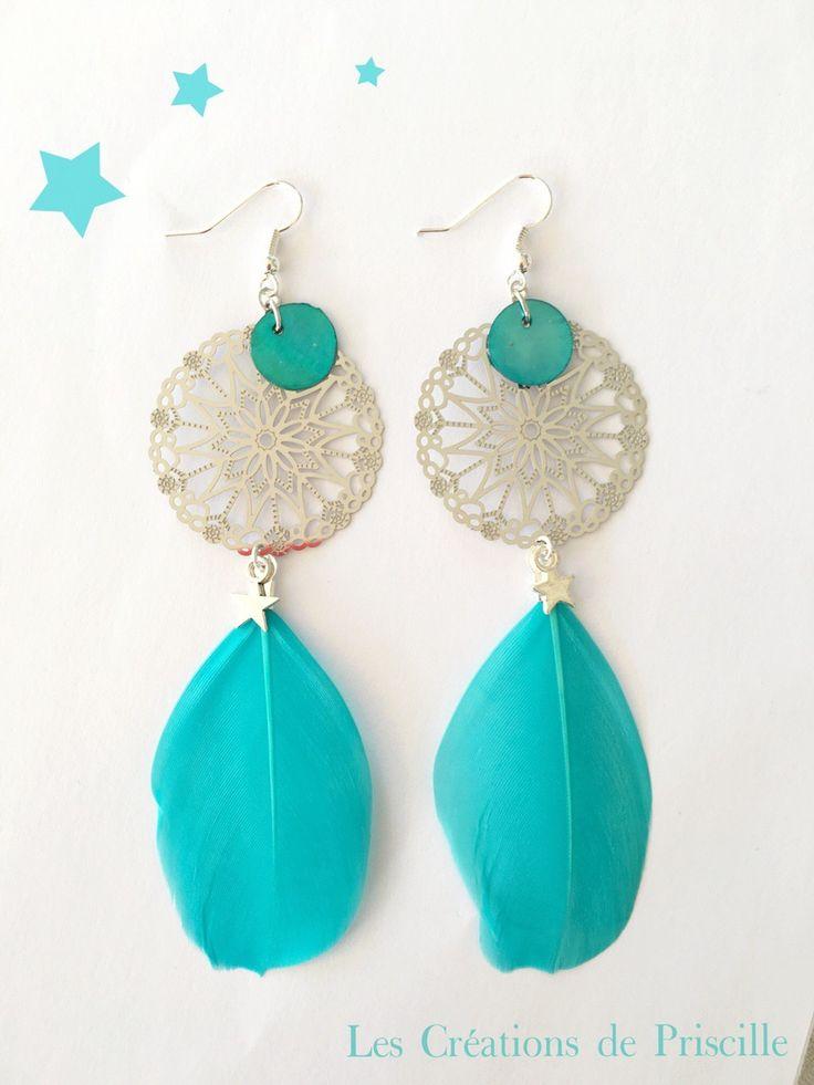 Boucles d'oreilles percées, plumes bleues, estampes argentées