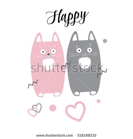 Cat. Cute two cats and hearts on white background wallpaper. Happy cats Calligraphy lettering. Vector illustration. Happy Cat animals. Couple Kittens 2017 Holiday card Romantic Valentines Day Birthday