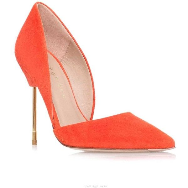 hottest sale Kurt Geiger London Bond Orange High Heel Court Shoes... ❤ liked on Polyvore featuring shoes, pumps, suede leather shoes, orange pumps, orange suede shoes, high heel shoes and orange suede pumps