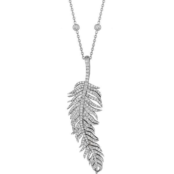 Penny Preville Pavé Diamond Feather Pendant Necklace found on Polyvore featuring jewelry, necklaces, pave diamond necklace, chain pendants, 18k white gold necklace, pave diamond necklace pendants and 18k necklace