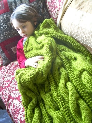 Knitting By Post Facebook : Cable knit blanket by deathlylost on craftster lana