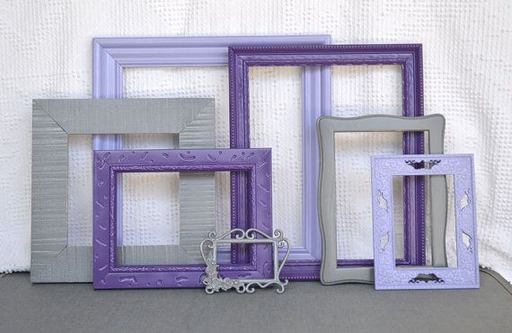 Purples Greys Gray  Painted Frames Set of 7  Upcycled by BeautiSHE, $59.00