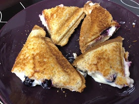 Blueberry Breakfast Grilled Cheese - omg yum. I always use my sandwich maker for banana and pb (no butter). also delicious