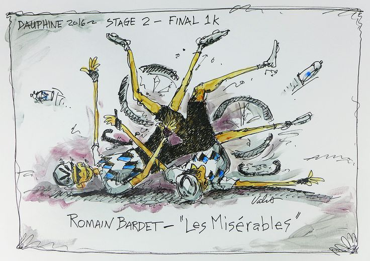 Romain Bardet-Les Misérables | With One Kilometer to the finish of Stage 2 - Dauphine, these two team mates crashed into each other, so very tragic and French.