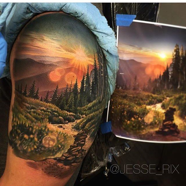 Very well replicated color realism shoulder tattoo. Epic detail!